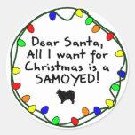 Dear Santa Samoyed Round Stickers