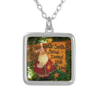 Dear Santa Send Money Silver Plated Necklace