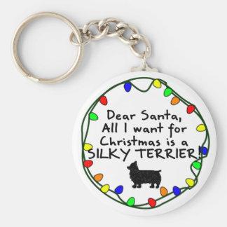 Dear Santa Silky Terrier Keychain