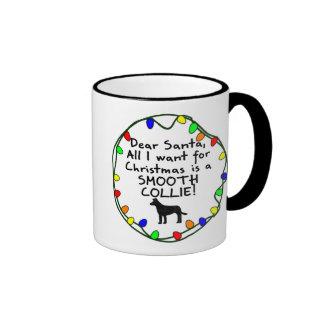 Dear Santa Smooth Collie Ringer Coffee Mug