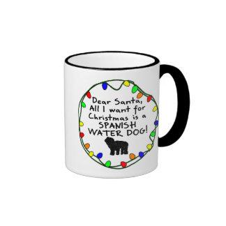 Dear Santa Spanish Water Dog Coffee Mugs