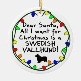 Dear Santa Swedish Vallhund Ceramic Ornament