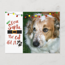 Dear Santa, the cat did it - Dog-Lover Holiday Postcard
