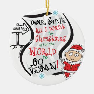 Dear Santa Vegan Wish Ceramic Ornament