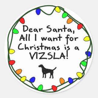 Dear Santa Vizsla Classic Round Sticker
