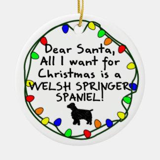Dear Santa Welsh Springer Spaniel Ceramic Ornament
