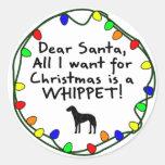 Dear Santa Whippet Round Stickers