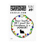 Dear Santa Yorkie Postage Stamp