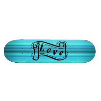 Dear scroll on blue green touch skateboard deck