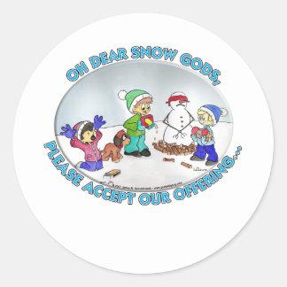 dear Snow God Round Sticker