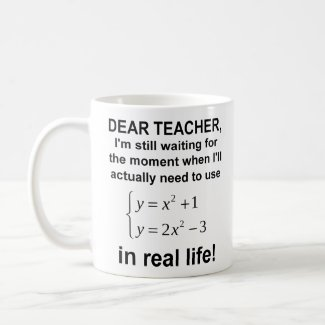 Dear Teacher Real Life Math Funny Mug