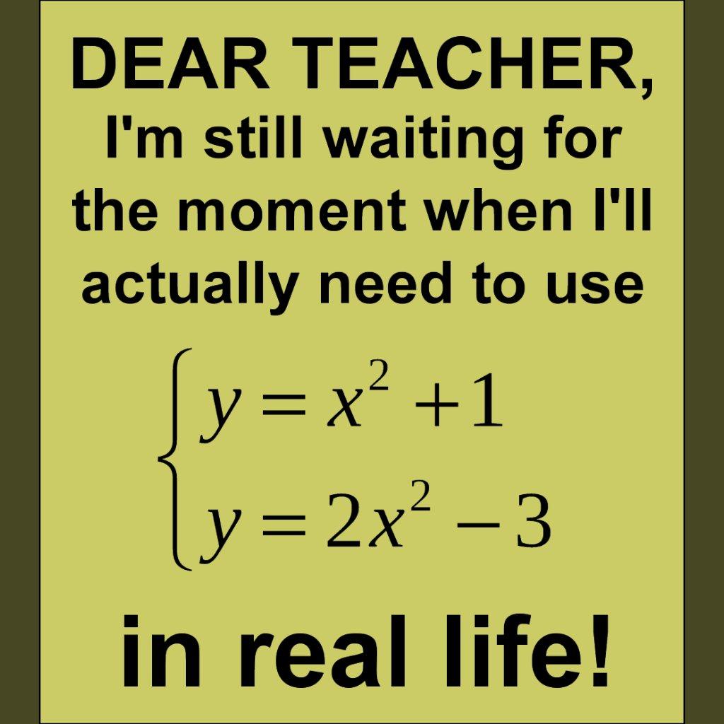 Dear Teacher Real Life Math Dear Math