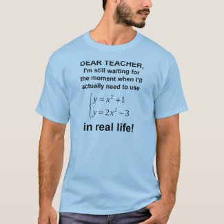 Dear Teacher Real Life Math Funny T-Shirt