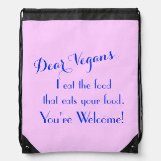 Dear Vegans Drawstring Backpacks