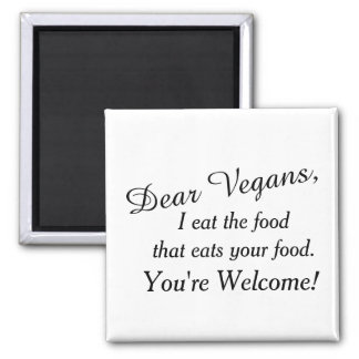 Dear Vegans Sidenote 2 Inch Square Magnet