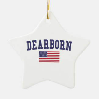 Dearborn Heights US Flag Ceramic Ornament
