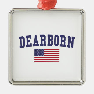 Dearborn Heights US Flag Metal Ornament