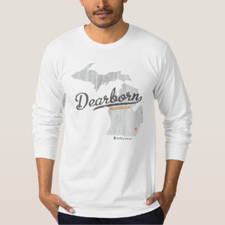 Dearborn Michigan Map Retro Fitted LS Shirt