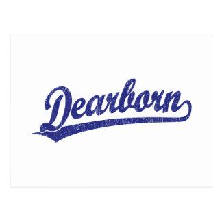 Dearborn script logo in blue postcard