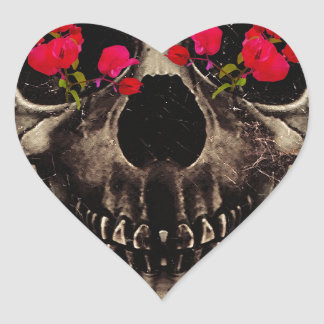 Death and Flowers Heart Sticker