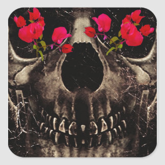 Death and Flowers Square Stickers