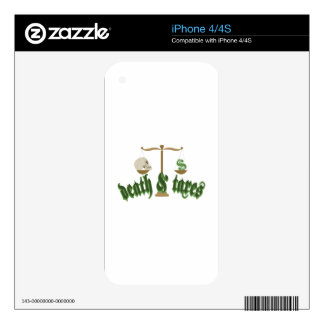 DEATH AND TAXES DECAL FOR THE iPhone 4S