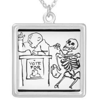 Death and the Politician. Square Pendant Necklace