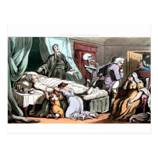 Death at the deathbed postcard