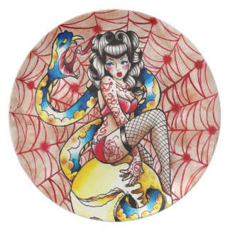 Death Becomes Her Pin Up Girl Tattoo Flash Plate