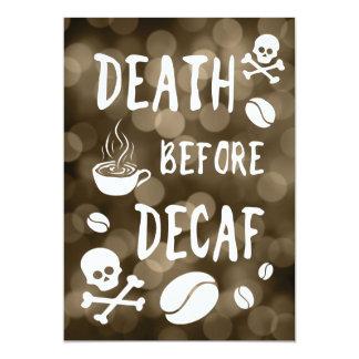 death before decaf bokeh card
