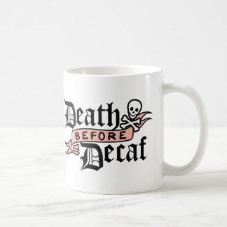 Death Before Decaf | Skull Typography Coffee Mug