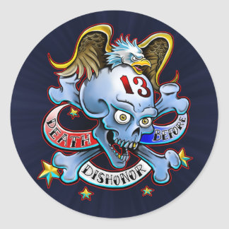 Death Before Dishonor Eagle Design Classic Round Sticker