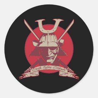 Death Before Dishonor Samurai Classic Round Sticker