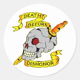 Death Before Dishonor Skull & Dagger Tattoo Classic Round Sticker