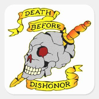 Death Before Dishonor Skull & Dagger Tattoo Square Sticker
