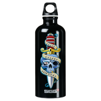Death Before Dishonor Skull design Water Bottle
