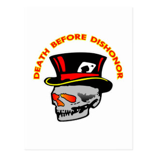 Death Before Dishonor Skull & Tophat Postcard