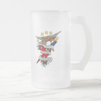 DEATH BEFORE DISHONOR VINTAGE TATTOO ART PRINT FROSTED GLASS BEER MUG