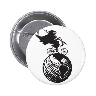 Death Bicycle and Earth 2 Inch Round Button