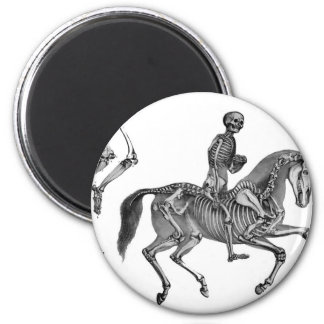 Death By Canter - Skeleton Horse At Canter 2 Inch Round Magnet