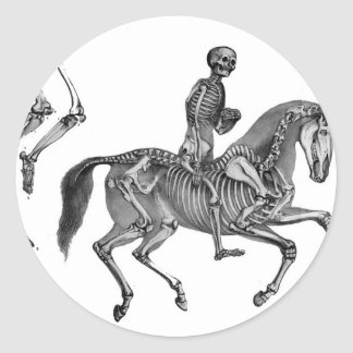 Death By Canter - Skeleton Horse At Canter Classic Round Sticker