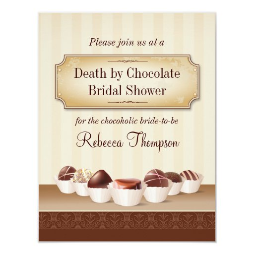 "Death by Chocolate Bridal Shower 4.25"" X 5.5"" Invitation Card"