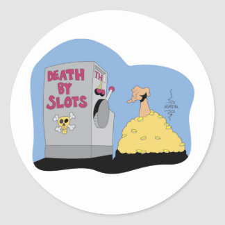 Death by Slots T-shirts and Gifts. Classic Round Sticker