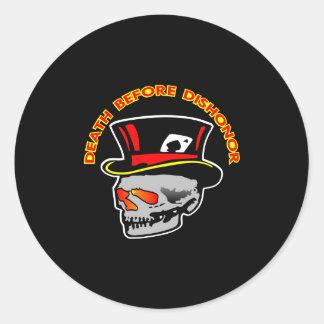 Death Dishonor Skull Black Classic Round Sticker