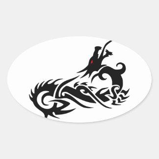 death dragon oval sticker
