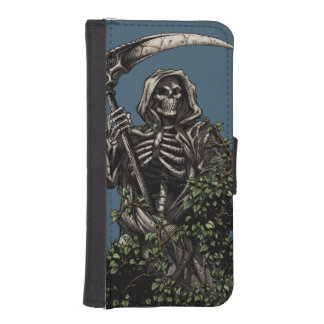 Death - Evil Skeleton Grim Reaper with Scythe iPhone 5 Wallet Case