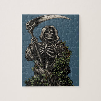Death - Evil Skeleton Grim Reaper with Scythe Jigsaw Puzzles