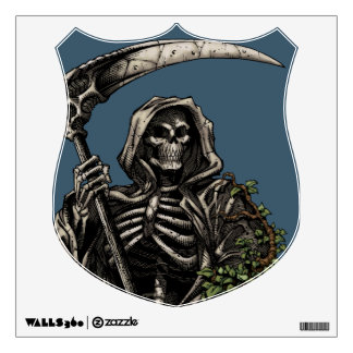 Death - Evil Skeleton Grim Reaper with Scythe Room Sticker