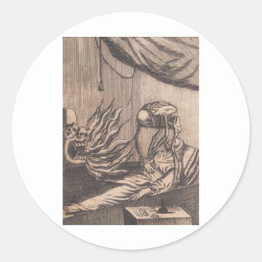Death Illustration. Circa 1792. Round Stickers