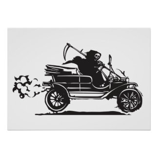 Death in a vintage car poster